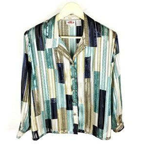 (Y2-10) Alia Sz 14 Striped Blouse Button Front